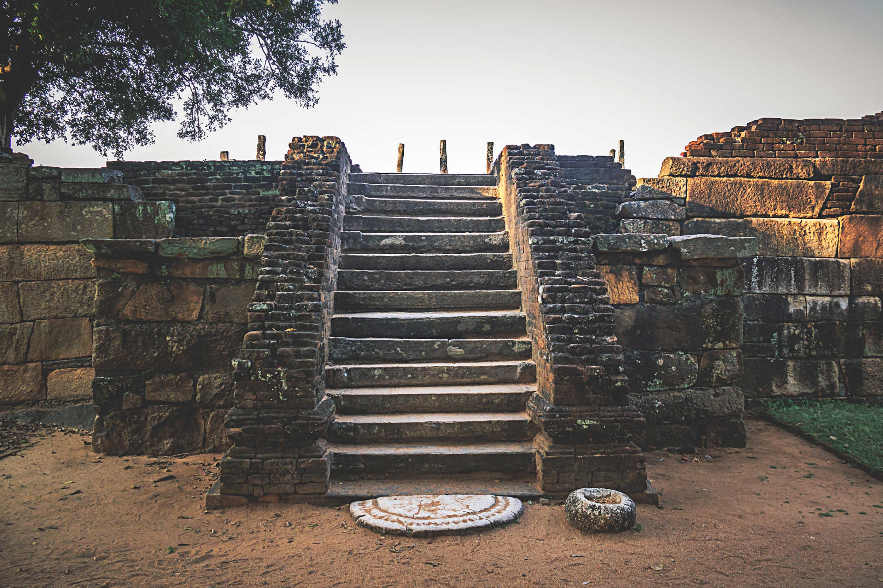 Stairs at Medirigiriya, Sri Lanka #2. Stairs lead up to the ruins of an image house at the 7th century Buddhist complex of Medirigiriya